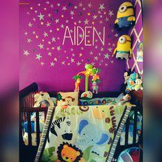 Jungle theme baby nursery. #purple #monkey #elephant #baby #minions #stars