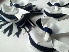 School Uniform Hair Bows/ Blue and White /Ribbon