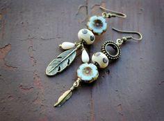 Asymmetrical earrings, Tribal earrings, Artisan Lampwork Earrings, Handmade ,Primitive, Gypsy Bohemian, boho jewelry, rustic earrings