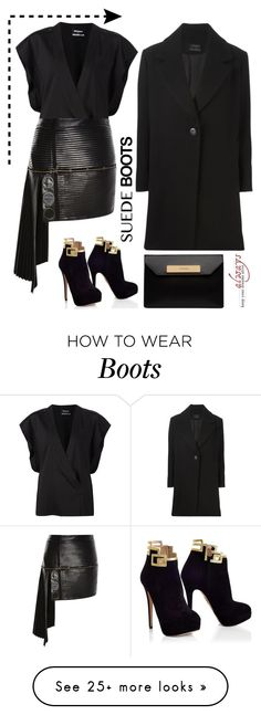 """Suede boots"" by jan31 on Polyvore featuring Anthony Vaccarello and Balenciaga"
