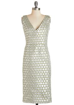Exquisitely Effervescent Dress. Champagne will be popped when you sashay into the party styled in this sparkling sheath dress by Tatyana! #silver #modcloth