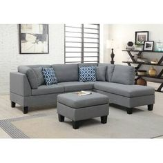 Ebern Designs Jeip Right Hand Facing Modular Sectional with Ottoman Couch With Ottoman, Sectional Ottoman, Corner Sectional, Chaise Sofa, Sofas, Sofa Furniture, Dining Room Furniture, Best Sectionals, Modern Lounge