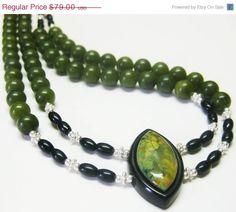Sale Unique Green Rain Forest Jasper Pendant by MyGemstoneDesigns, $63.20