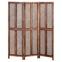 3-paneled wood room divider in walnut.    Product: Room dividerConstruction Material: WoodColor: Waln...