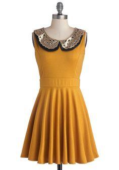 Two Happy Hearts Dress in Mustard   Mod Retro Vintage Dresses   ModCloth.com