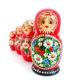 Russian folk art ornaments on matryoshki