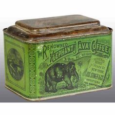 1379: Renowned Elephant Java Coffee Counter Tin.