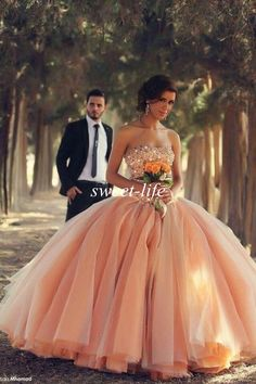 Hot Sale 2015 Quinceanera Dresses Peach Puffy Ball Gown Crystal Bead Sweetheart Zipper Sweep Train Sweet 16 Prom Dress Gowns for Quinceanera Online with $136.65/Piece on Sweet-life's Store | DHgate.com