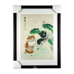 "21""*16""hand-drawn Chinese Painting on silk  with two Cats wooden-framed special painting techniques wonderful Art 2-layer white mats Ready to hang"