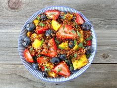 Breakfast or dessert? Whenever you serve it, fruit salad with quinoa and honey lime dressing would be a tasty and healthy choice.