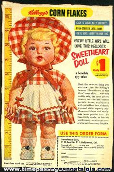 Kellogg's Cereal Boxes back in the 1880's   Old Kellogg's Corn Flakes Cereal Box Back With A Sweetheart Doll ...