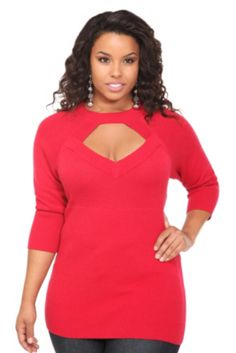 Red Molly Mock Neck Cutout Sweater Top