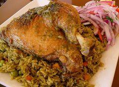 Arroz con pollo Peruvian dish green rice with chicken Rice Recipes, Mexican Food Recipes, Chicken Recipes, Cooking Recipes, Peruvian Dishes, Peruvian Recipes, Chefs, Green Rice, World Recipes