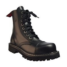 Angry Itch - 8-Loch Gothic Punk Army Ranger Armee Leder Stiefel mit Stahlkappe 36-48 - Made in EU!, EU-Größe:47