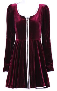 Wine Red Scoop Neck Long Sleeve Zipper Pleated Dress US$83.00