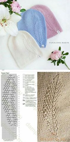Knitted hat with pattern – Baby knitting patterns Sweater Knitting Patterns, Easy Knitting, Knitting Stitches, Knitting Designs, Crochet Patterns, Knitting Sweaters, Loom Patterns, Stitch Patterns, Crochet Lace