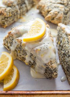 Classic and crumbly Meyer Lemon Poppy Seed Scones. The sunshine sweet lemon glaze makes them irresistible! Easy Lemon Poppy Seed Scones Recipe When it comes … Lemon Poppy Seed Scones, Lemon Scones, Lemon Poppyseed Muffins, Lemon Macaroons, Meyer Lemon Recipes, Lemon Pudding Cake, Macaroon Recipes, Freezer Meals, Freezer Cooking