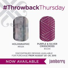 Jamberry is re-releasing retired Jamberry Nail Wraps for a limited time. These wraps are exclusive and hard to find! Get them while you can!! Holographic and Purple & Silver Crisscross are highly sought over!!!www.alohajam.jamberrynails.net