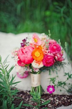 Bold Peony Poppy and Ranunculus Bouquet | photography by http://jnicholsphoto.com