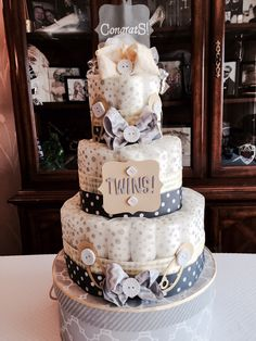 Diaper cake that I made for a friend.  Yellow and gray theme colors Starzak