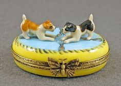 NEW FRENCH LIMOGES BOX TWO JACK RUSSELL TERRIER DOG PUPPIES ON BLUE RUG