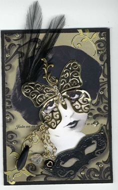 Masquerade Mixed Media Collage ACEO/ATC by ArtfullyMusing