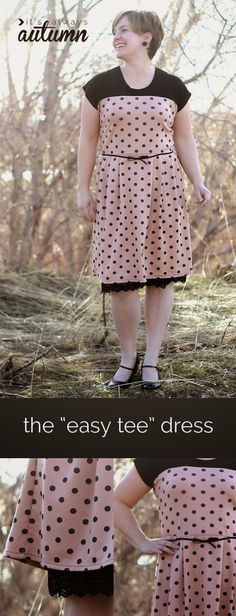 sewing tutorial for Tee- Dress What a cute dress to make in no time. The neckline is already there ,the sleeves are part of the bodice part, there are no zippers or buttons. Nothing gets easier than t