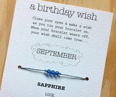 September Birthday Wish Bracelet  Sapphire Swarovski by SheAndJack