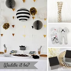 """If the mom-to-be's style is more modern, save the pink and blue for the big reveal. Go for an edgy black, white and gold palette for an adorable penguin themed """"Waddle It Be?"""" gender reveal. 