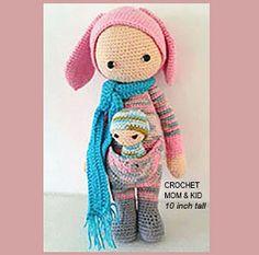 Crochet Mom & Kid amigurumi, 10 inch tall, crochet dolls, family love, mother's gift,