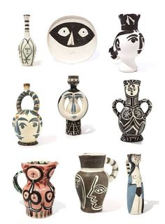 Picasso plus Pottery equals Perfection. Picasso vases and ceramics. Black, white, grey and neutral colours. Stylish, upmarket, elegant and modern. Pablo Picasso, Art Picasso, Ceramic Pottery, Pottery Art, Ceramic Design, Art Installation, Pottery Designs, Ceramic Artists, Clay Art