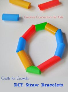 Make an easy and inexpensive bracelet using drinking straws.  This craft is perfect for a classroom or community event. It is easy to set up, clean-up, and is fun for a wide age range.