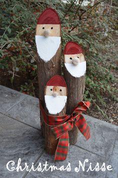 belle idée: tailler le haut de vos branches au 45° degrés, fixer les ensemble avec un gros rubans. Peignez la barbe, chapeau et yeux et collez un nez (pompon).
