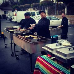 What a great pic of some of our chefs! Chef Tom up front with Chef Pat by his side and Chef Mike in the back covering both of them. #teamwork #cheflife #tacos #outdoorcatering #onsitecooking #noiinteam #loveyourchef #chefforlife #caliente #freshoffthegrill #freshofftheplancha #tacocatering http://ift.tt/1zyWpZ7 909-333-5527