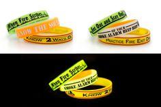Glow in the Dark Silicone Fire Awareness Bracelets