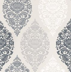 Loriana Dove (1612/903) - Prestigious Wallpapers - A wallpaper design with an all over damask motif in various colours. Shown here in black, grey, white and taupe. Other colourways are available. Please request a sample for a true colour match. Paste-the-wall product.