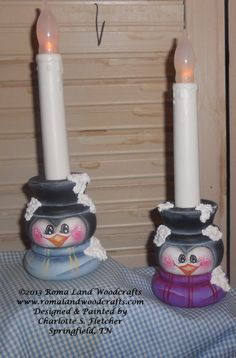 Handpainted Wooden Penguin Candle holder by RomaLandWoodcrafts, $10.00....love these