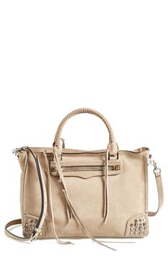 Lusting after this gorgeous Rebecca Minkoff satchel with mixed studs and dangling tassels.