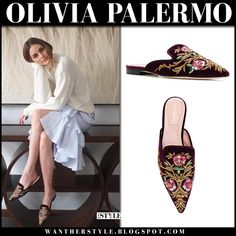 Olivia Palermo in velvet embroidered mules and striped skirt