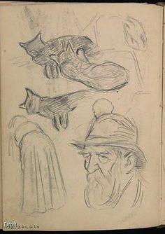 Edmond-Joseph Massicotte, Portrait d'un homme âgé et études de chats et de personnages féminins, 1907. Mine de plomb sur papier, 13,7 x 10 cm. Collection MNBAQ. #mnbaq #MuseumCats