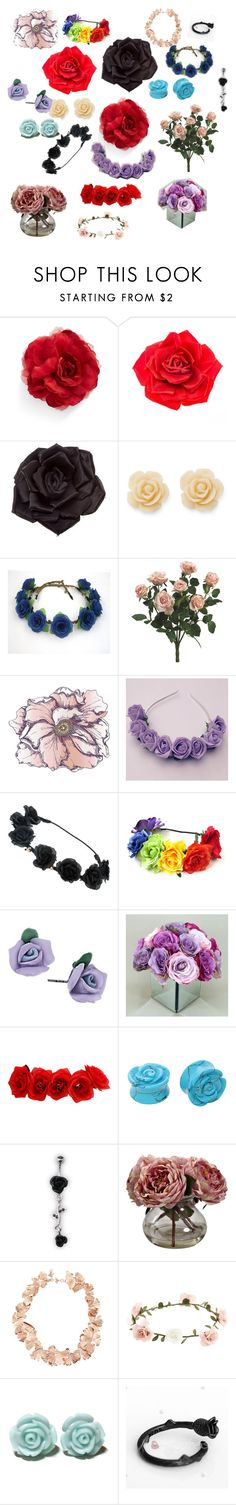 """""""Floral"""" by villainousherocomplex ❤ liked on Polyvore featuring Cara, Johnny Loves Rosie, Draper James, Universal Lighting and Decor, 1928, Nearly Natural, Aurélie Bidermann and Accessorize"""