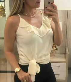 Casual Dresses, Casual Outfits, Short Tops, Western Wear, Cute Tops, Casual Looks, Blouses For Women, Ideias Fashion, Camisole Top