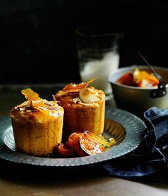Australian Gourmet Traveller recipe roast apricot, almond and quinoa cakes.