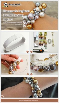 #Jewelry Making #Tutorial--How to Make Homemade Clustered #Pearl #Bracelet using Crystazzi http://www.primabead.com/Search.aspx?k=crystazzi