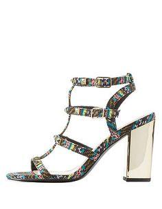 Qupid Studded Chunky Heel Sandals: Charlotte Russe