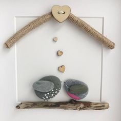 Handmade Pebble Art Pebble Art Love Birds Pebble Picture