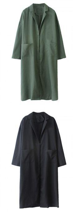 Black &Green Lapel Long Sleeve Pocket Detail Longline Blazer from Choies