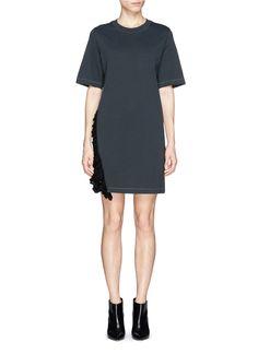 3.1 PHILLIP LIM - Crochet ruffle trim cotton jersey T-shirt dress   Black Casual Dresses   Womenswear   Lane Crawford