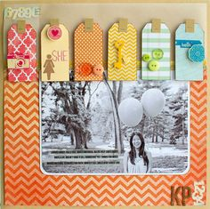 Scrapbook page with Tags | GetItScrapped.com/blog