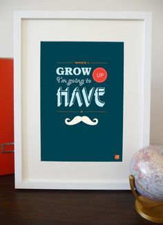 Mustache / Moustache Print - Funky and Modern Typographic Print for Child by PixelleCreative, $22.00